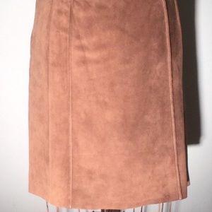 Ann Taylor Brown Suede Pencil Skirt